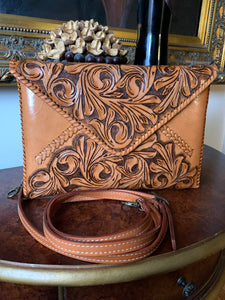 "Hand-Tooled Leather Crossbody & Clutch Bag ""Italia"" by ALLE in Tan Italiano Antique color"
