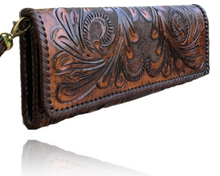 "Load image into Gallery viewer, Hand Tooled Leather Clutch - Wristlet ""Oaxaca"" by ALLE, Vintage Boho style"