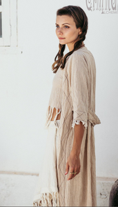 Bohemian Boho Cardigan Robe, Maxi Dress, Organic Clothes