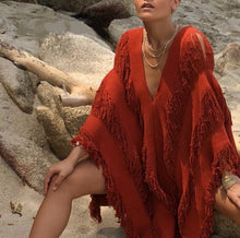 "Load image into Gallery viewer, ALLE BOHO ""RHIANA"" Swimsuit Cover Up, Beach Midi Dress, Organic Clothing"