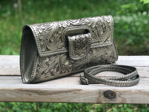 "Hand-Tooled Leather Large Crossbody & Clutch ""Lengueta"" by ALLE more colors"