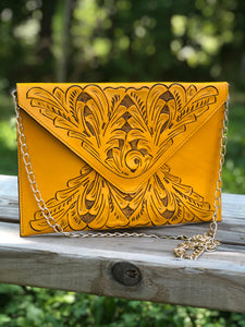 "Hand-Tooled Leather Crossbody & Clutch Bag ""Triangulo"" by ALLE more Colors"
