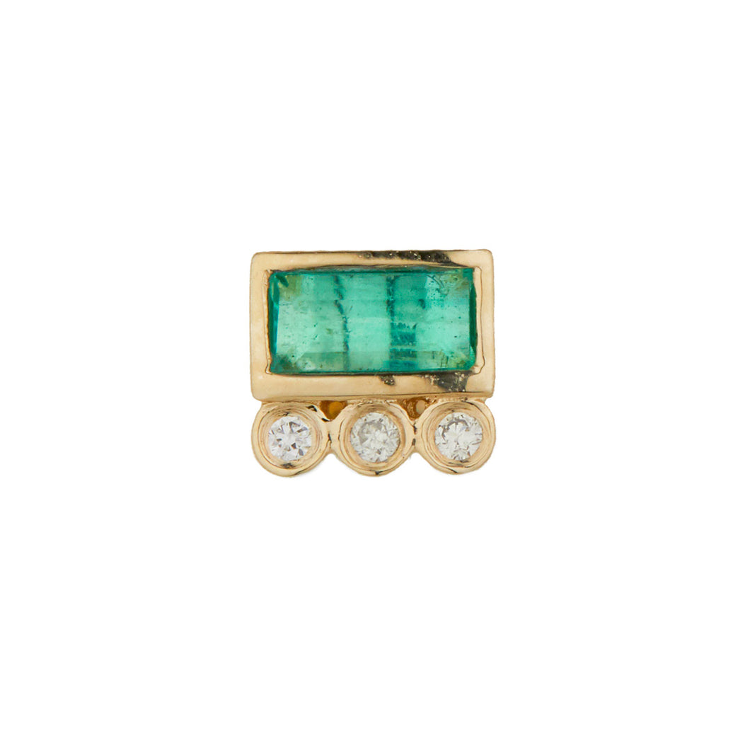 Baguette Tourmaline And Tubes Diamonds Single Earring