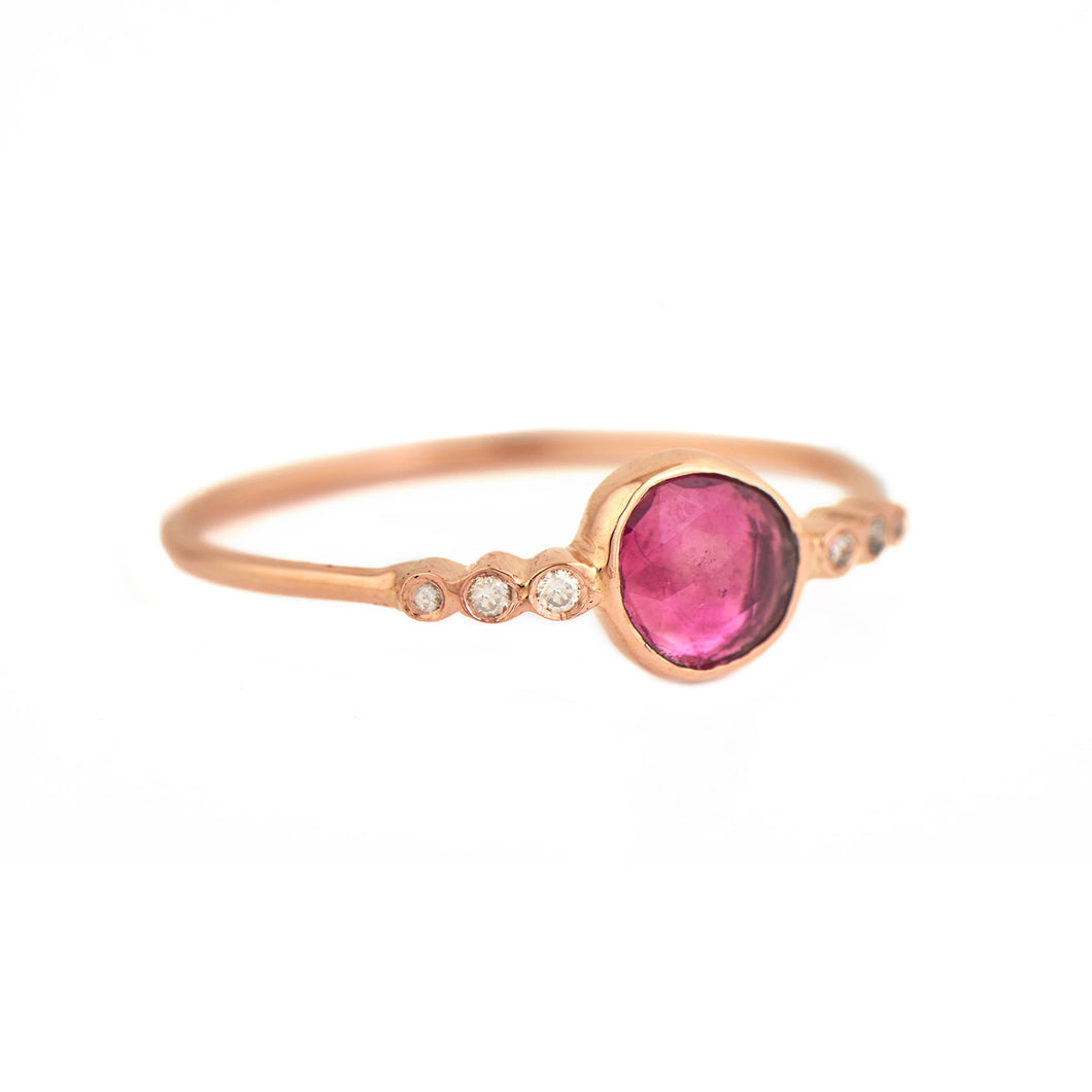 Central Pink Tourmaline & Tube Diamonds Ring