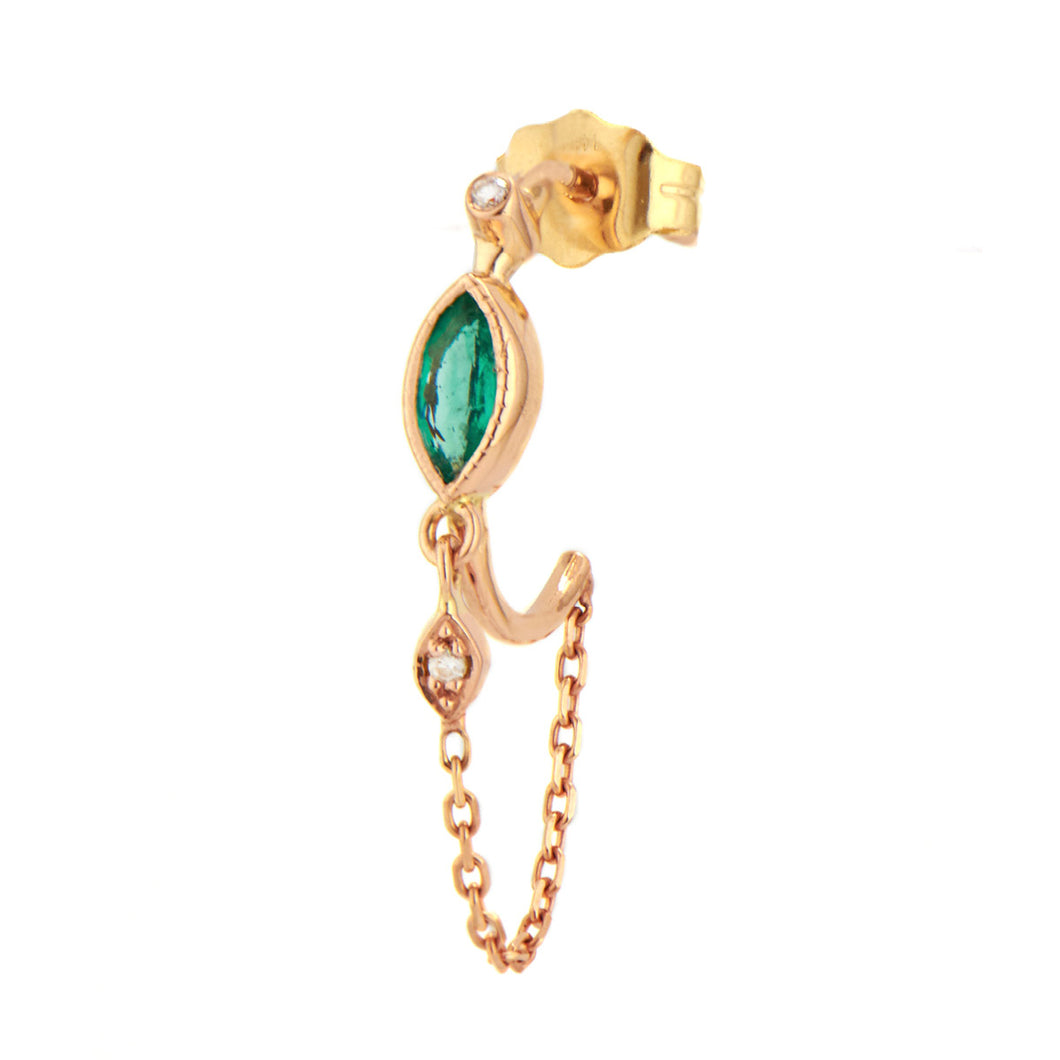 Emerald Hoop Diamond Eye & Chain Single Earring