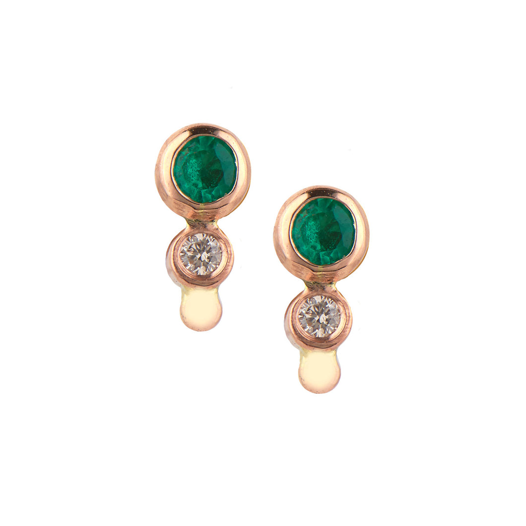 Mini Emerald And Diamond Eye Single Stud