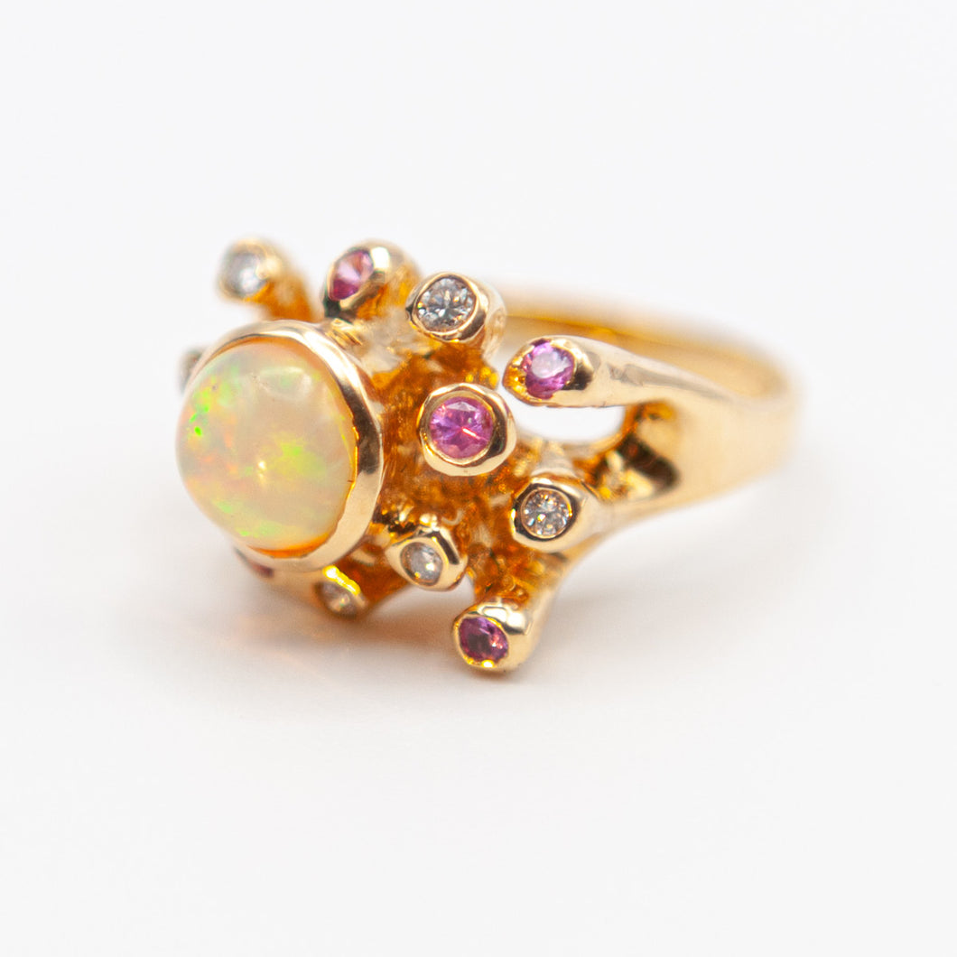Large Sea Anemone Jelly Opal Diamond Pink Sapphire Ring