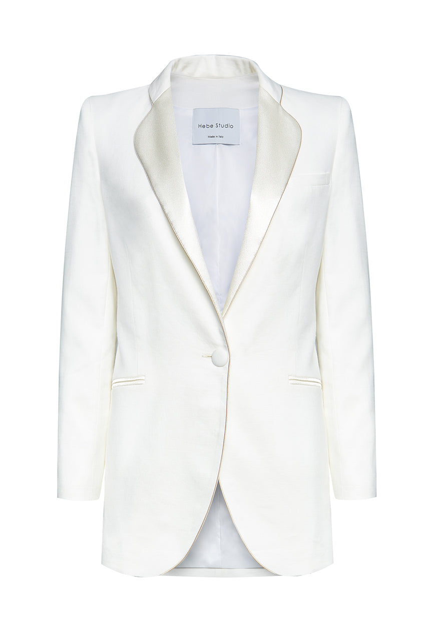 The Cream Linen Smoking Blazer