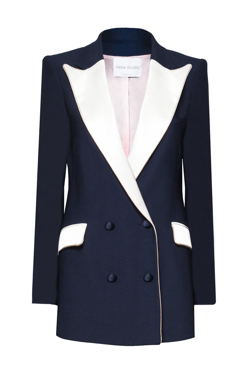 The Navy & Cream Bianca Blazer