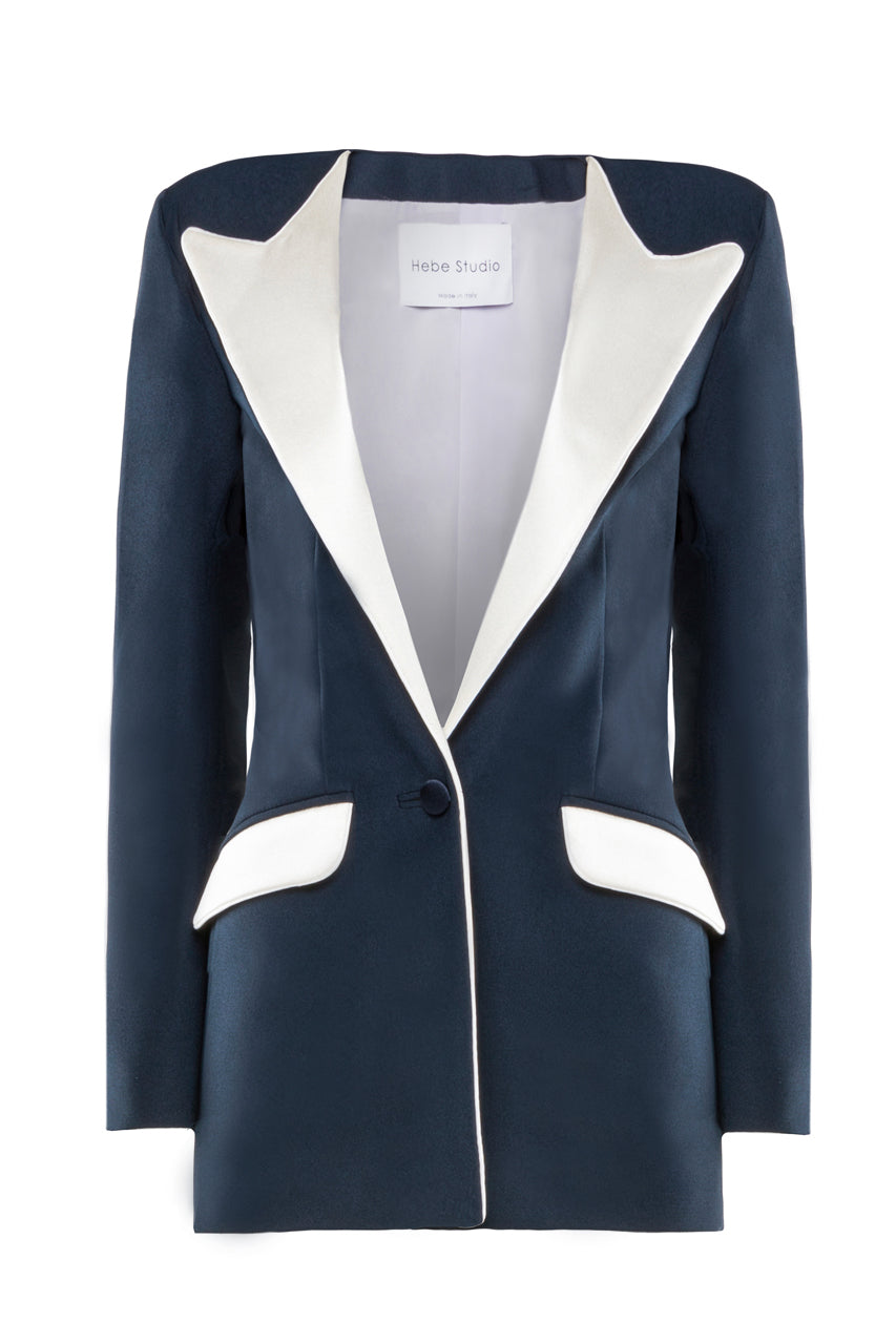 The Navy & Cream Boyfriend Blazer