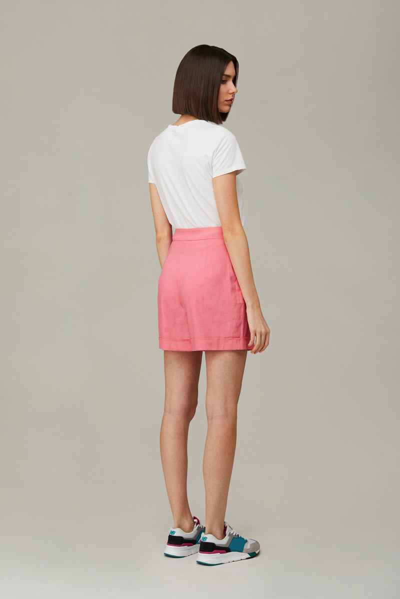 The Pink Linen Boyfriend Shorts