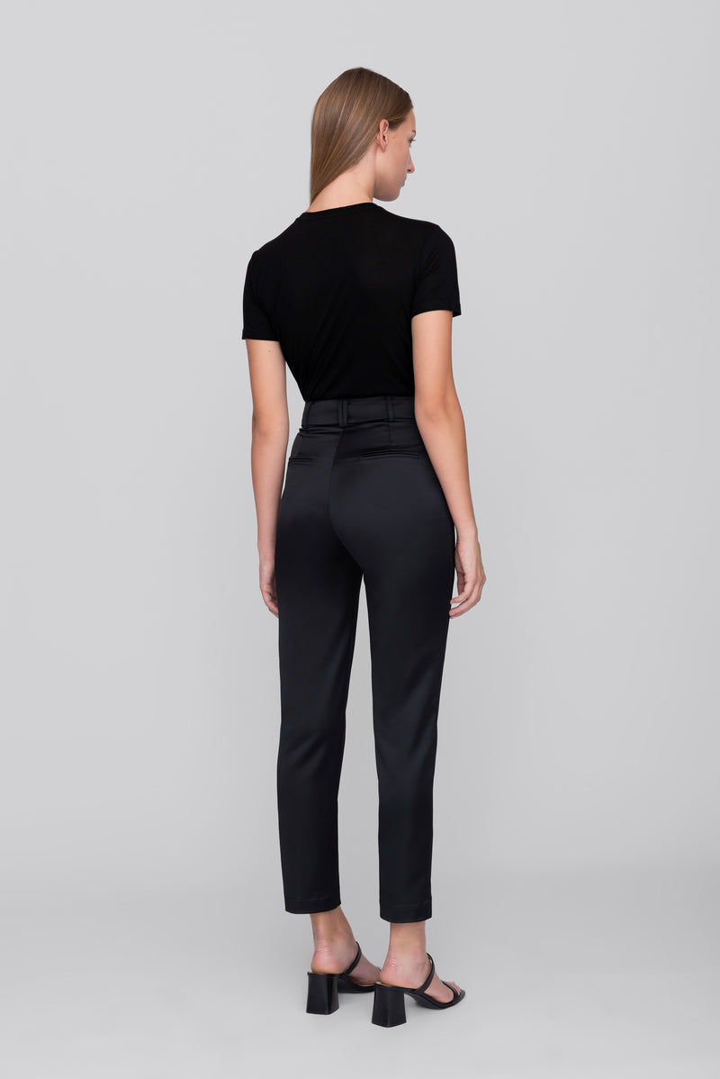 The Black Satin Smoking Pants