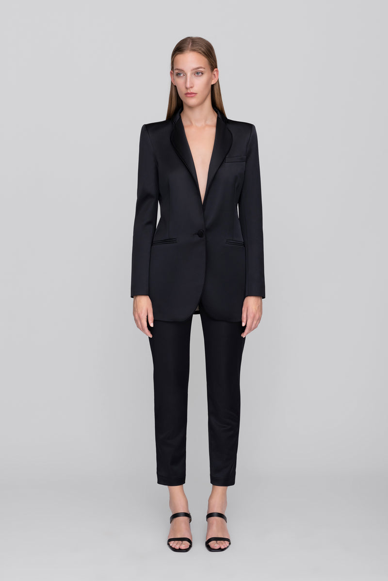 The Black Satin Smoking Blazer