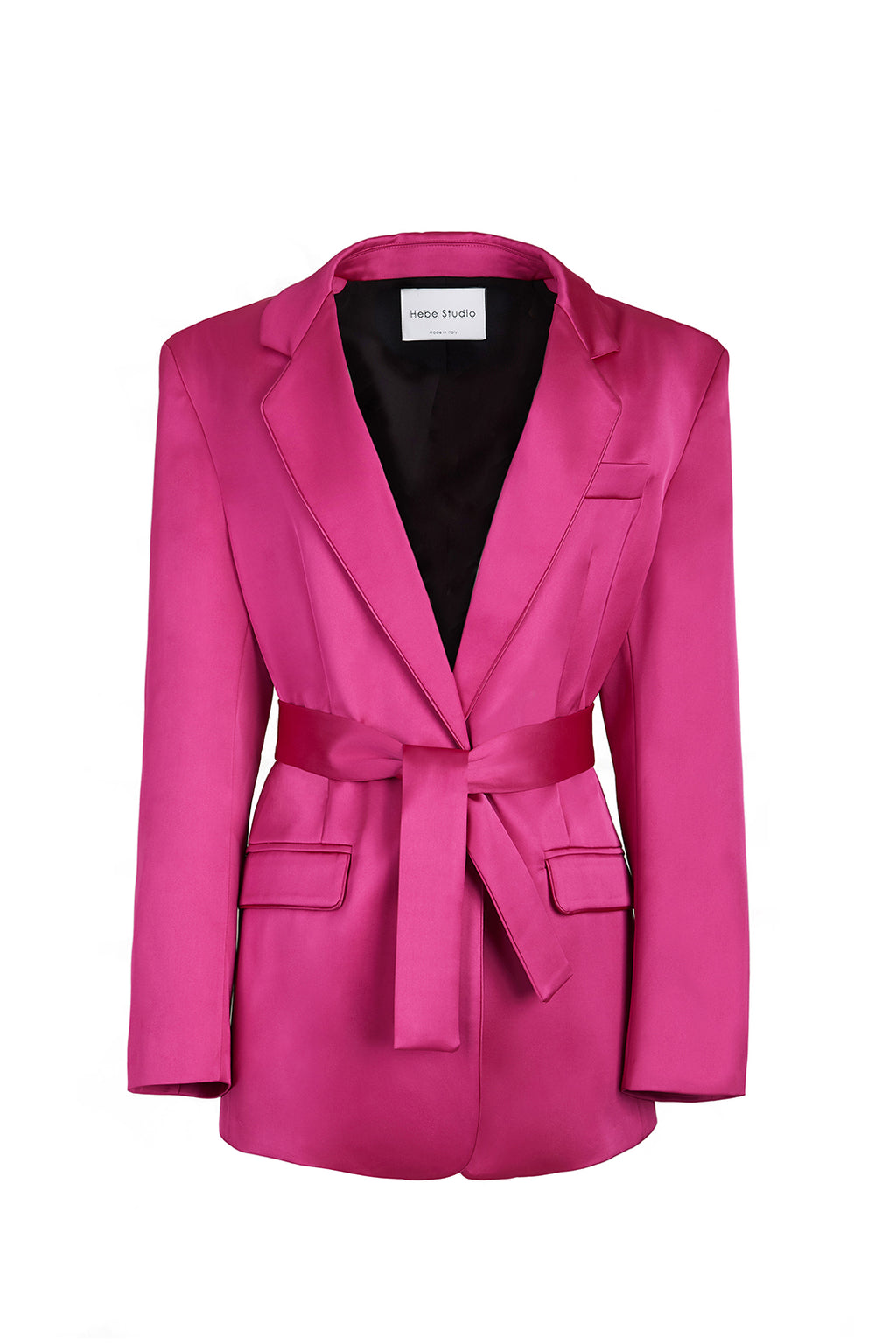 The Fuchsia Satin Lover Blazer with belt
