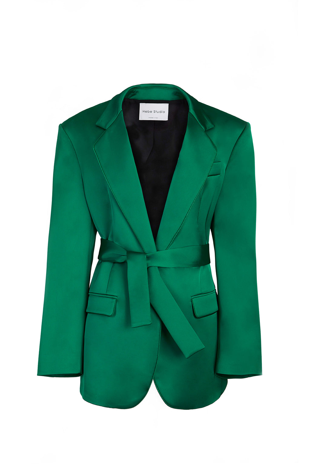 The Green Satin Lover Blazer with belt
