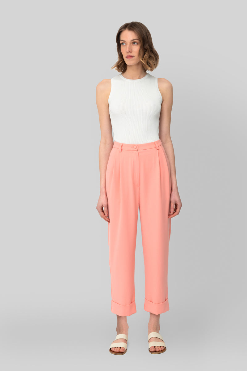 The Salmon Crepe Boyfriend Pants
