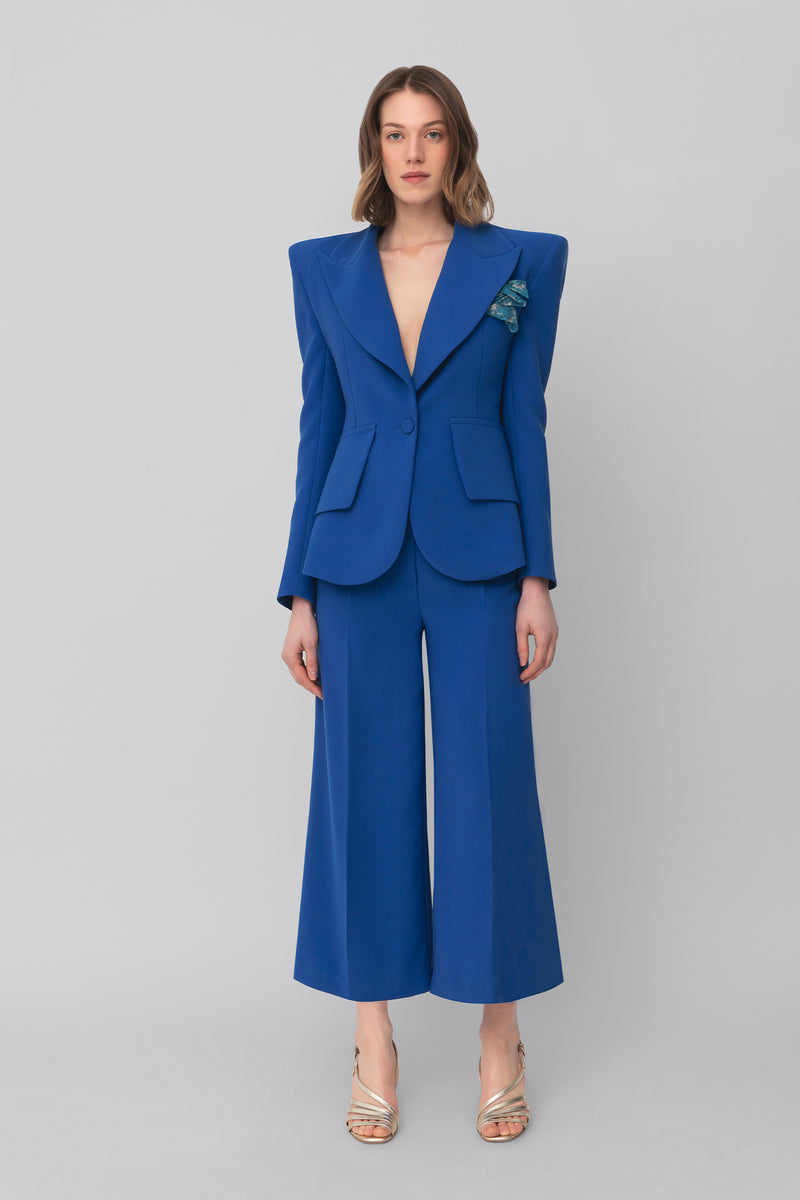 The Royal Blu Crepe Grace Blazer