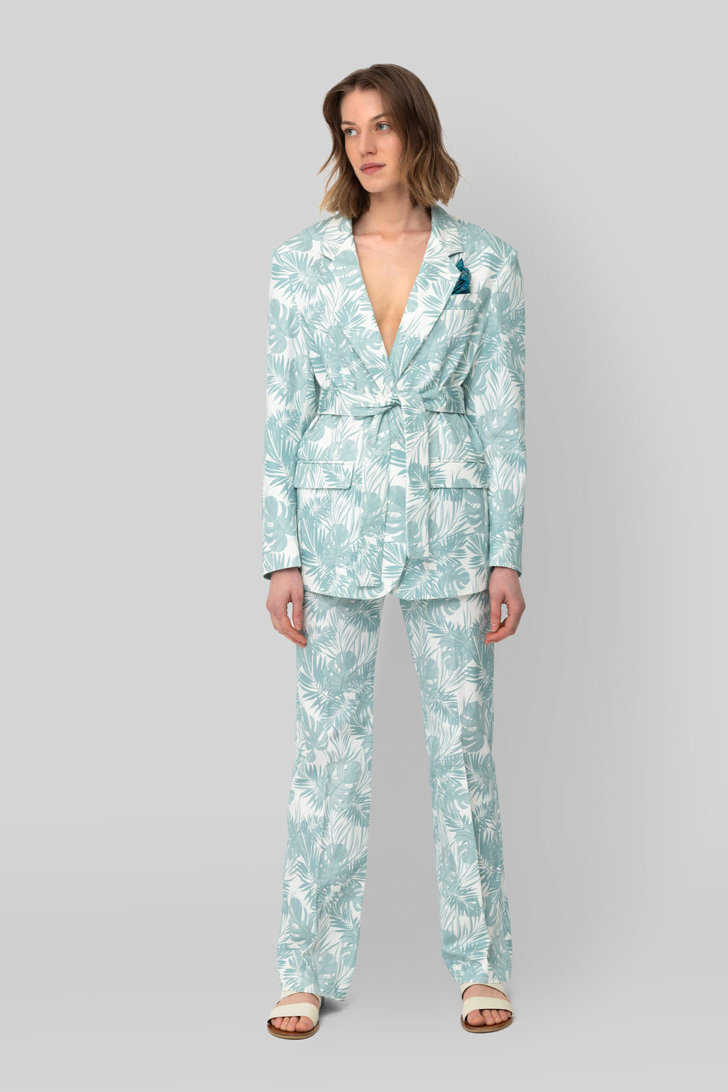 The Printed Cotton Teal Lover Blazer