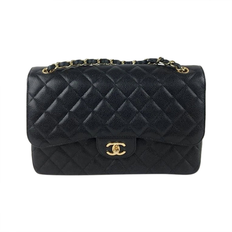 Jumbo Double Flap Caviar Bag with GHW