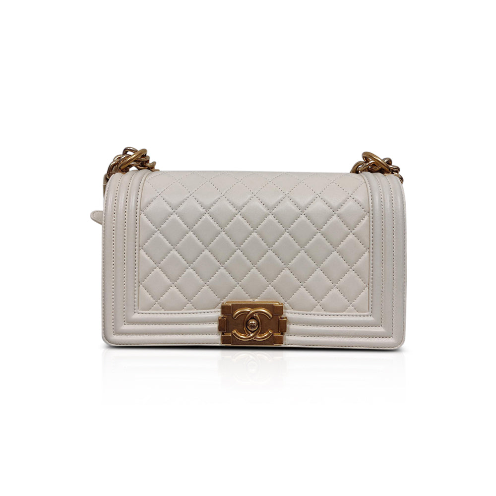Old Medium Le Boy in Quilted Cream Calfskin with GHW - Bag Religion