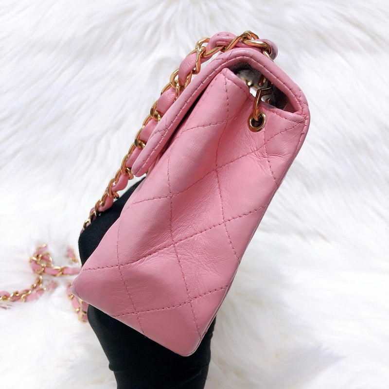 Vintage Mini Square Flap Bag in Pink Quilted Caviar Leather GHW - Bag Religion