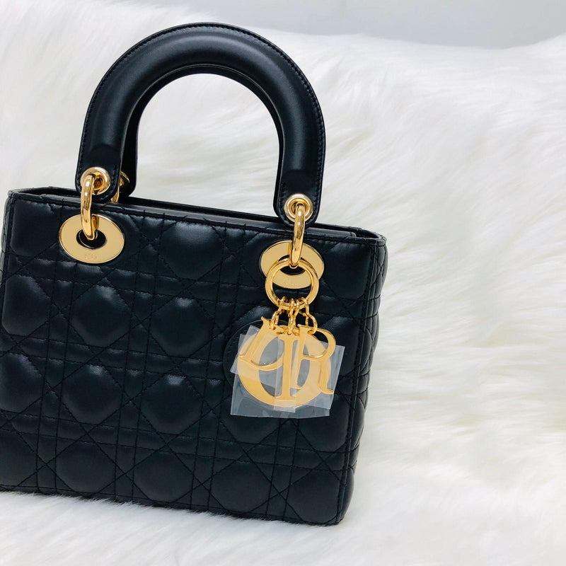 Cannage Lambskin Lucky Badges My Lady Dior Small Black