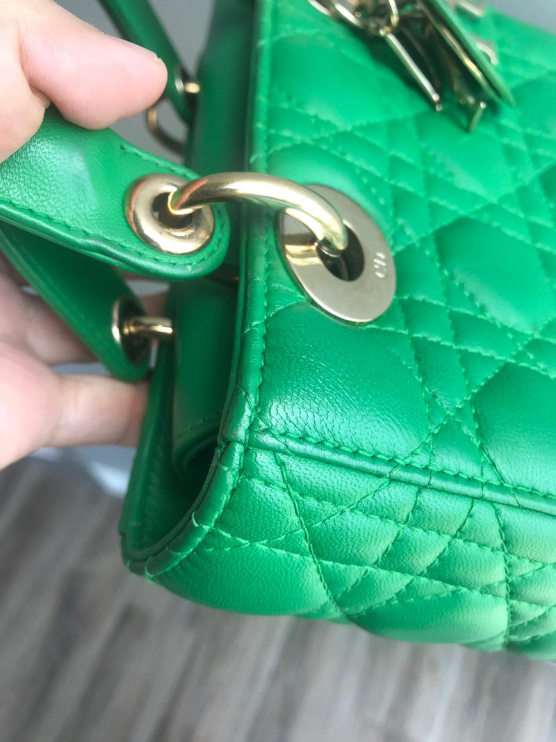Cannage Green Lambskin Lucky Badges My Lady Dior