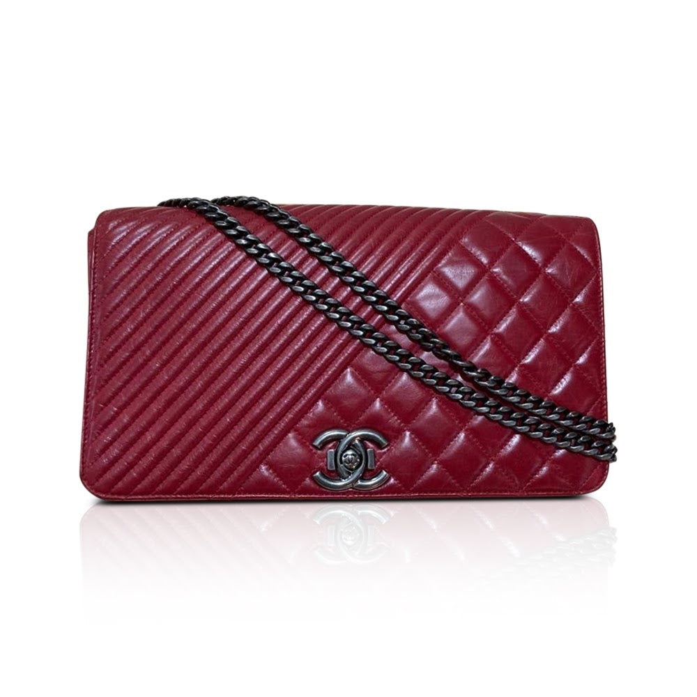 Coco Boy Flap Bag Chevron & Quilted Medium Aged Calfskin RHW Red - Bag Religion
