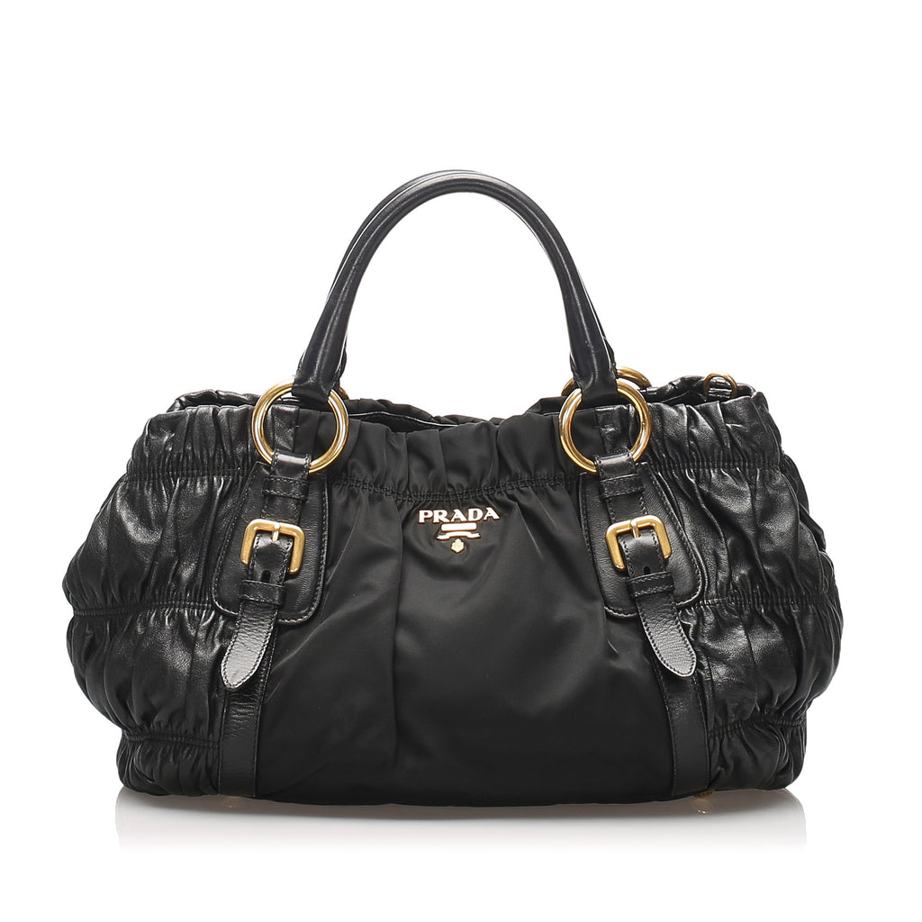 Tessuto Nappa Gaufre Satchel Black - Bag Religion