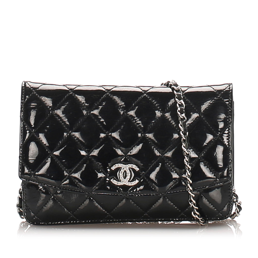 Black CC Timeless Patent Leather Wallet on Chain