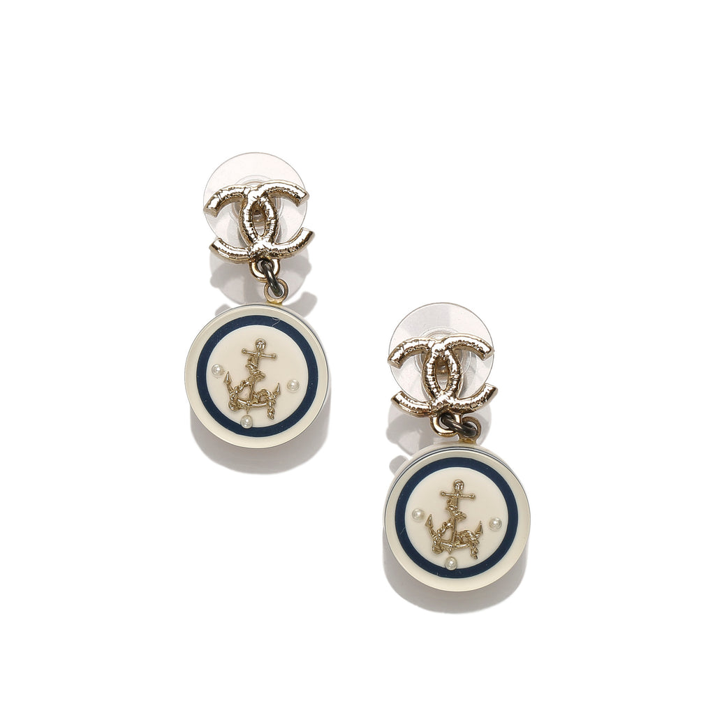 CC Anchor Drop Earrings White - Bag Religion