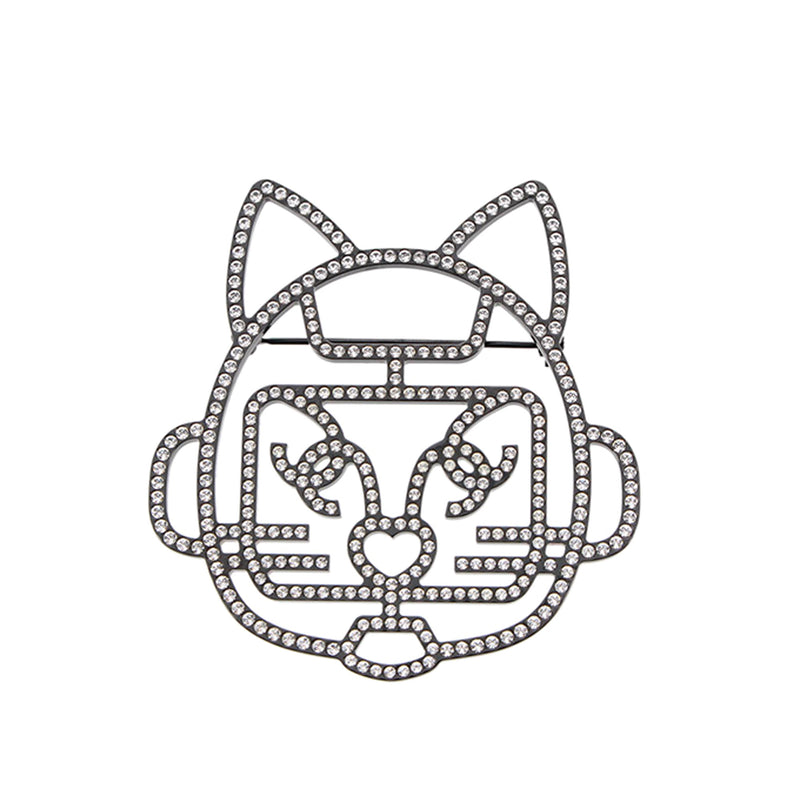 Cat Robot Rhinestone Brooch