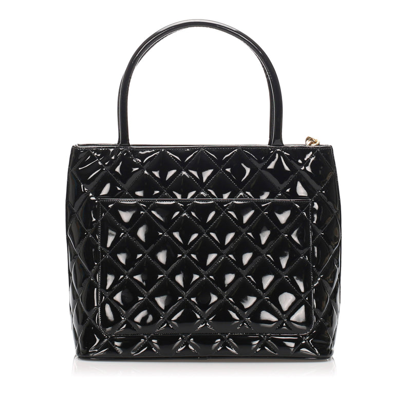 Black Medallion Patent Leather Tote Bag