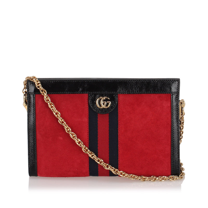 Small Ophidia Suede Crossbody Bag Red and Black GHW