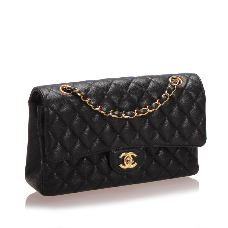 Medium Classic Caviar Leather Double Flap Bag Black GHW