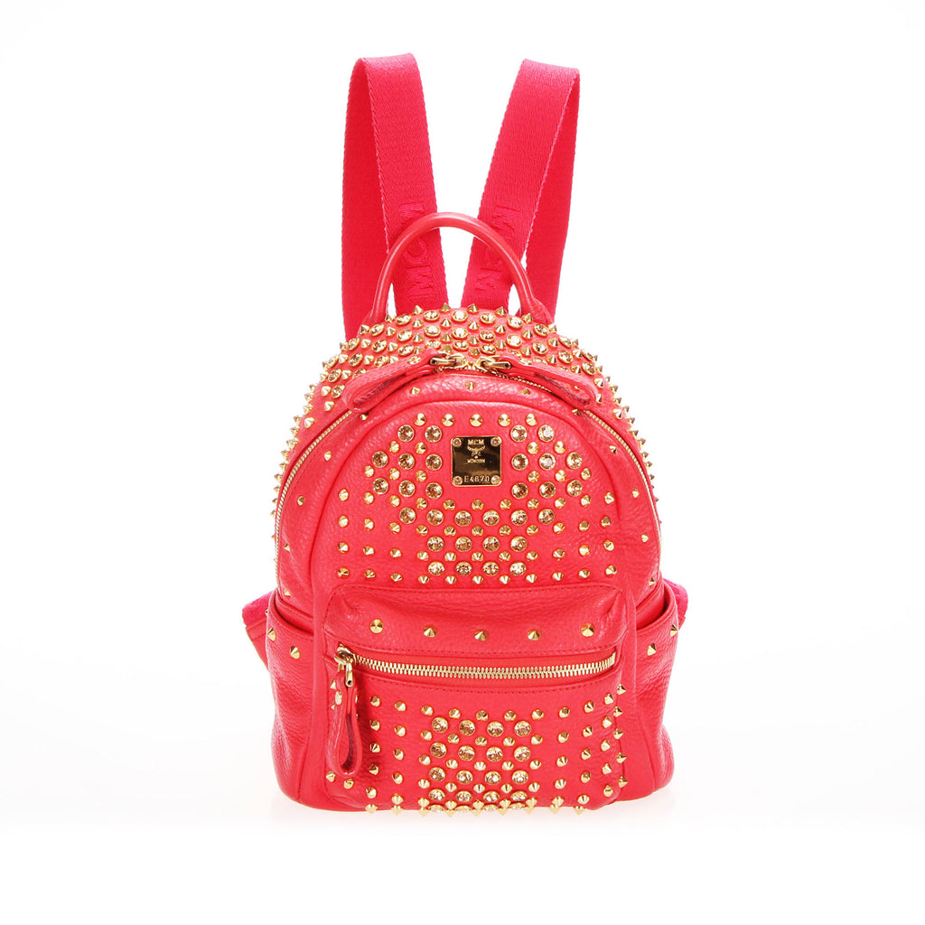 Stark Special Studded Leather Backpack Red - Bag Religion