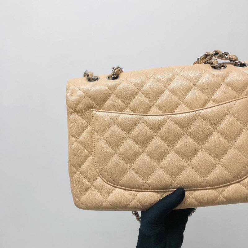 Single Flap Jumbo in Beige Caviar Leather with SHW