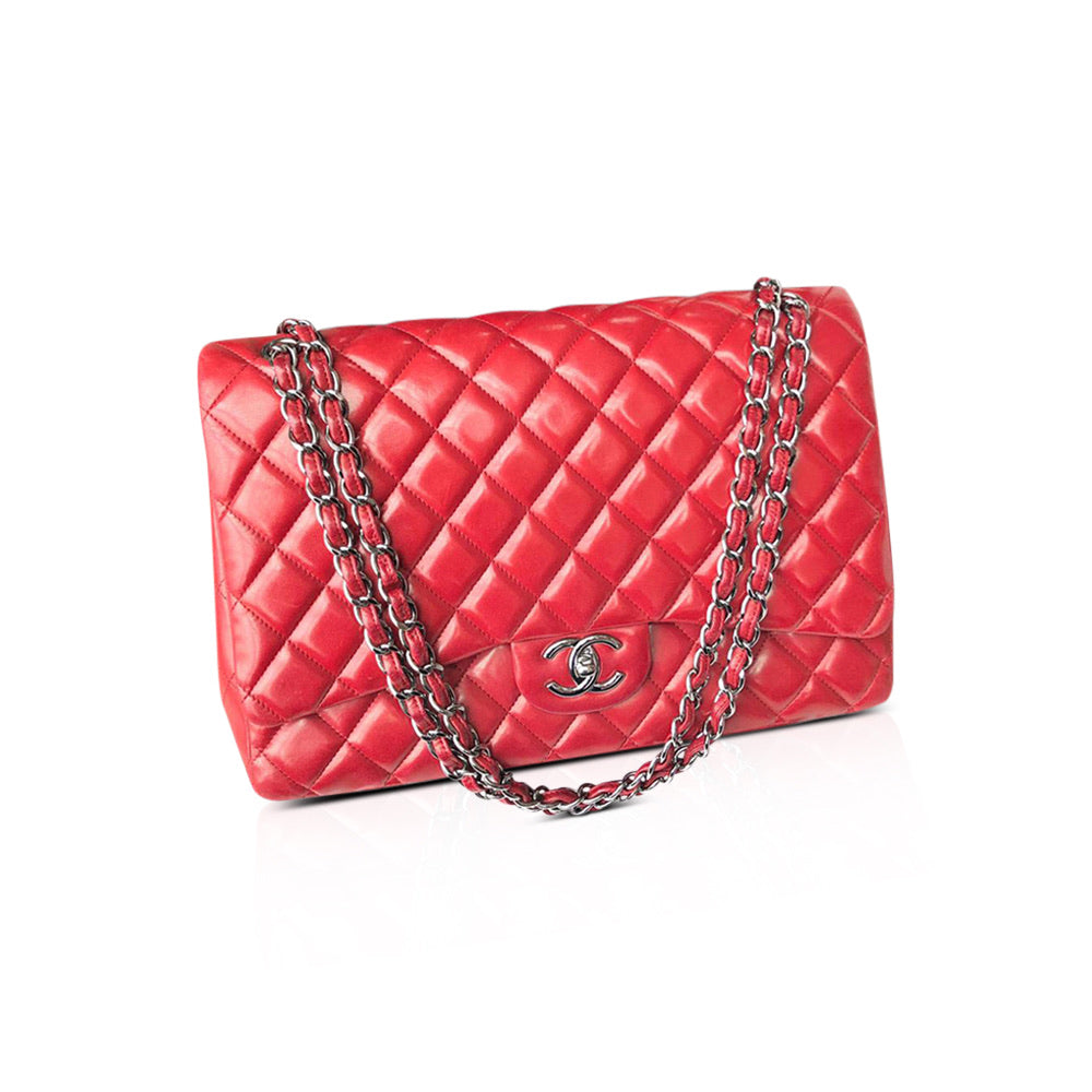 Double Flap Maxi in Red Lambskin with SHW - Bag Religion