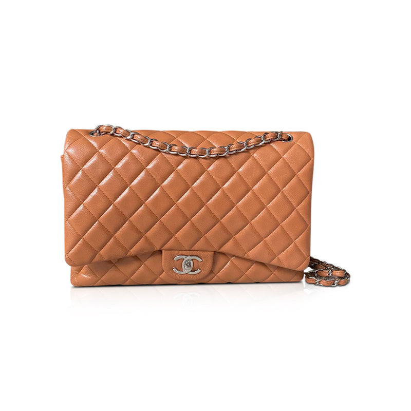 Double Flap Maxi in Quilted Beige Caviar Leather with SHW - Bag Religion