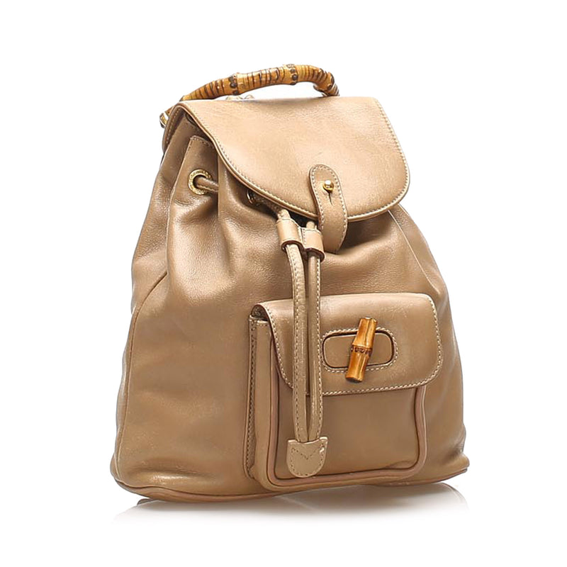 Bamboo Drawstring Leather Backpack Brown - Bag Religion