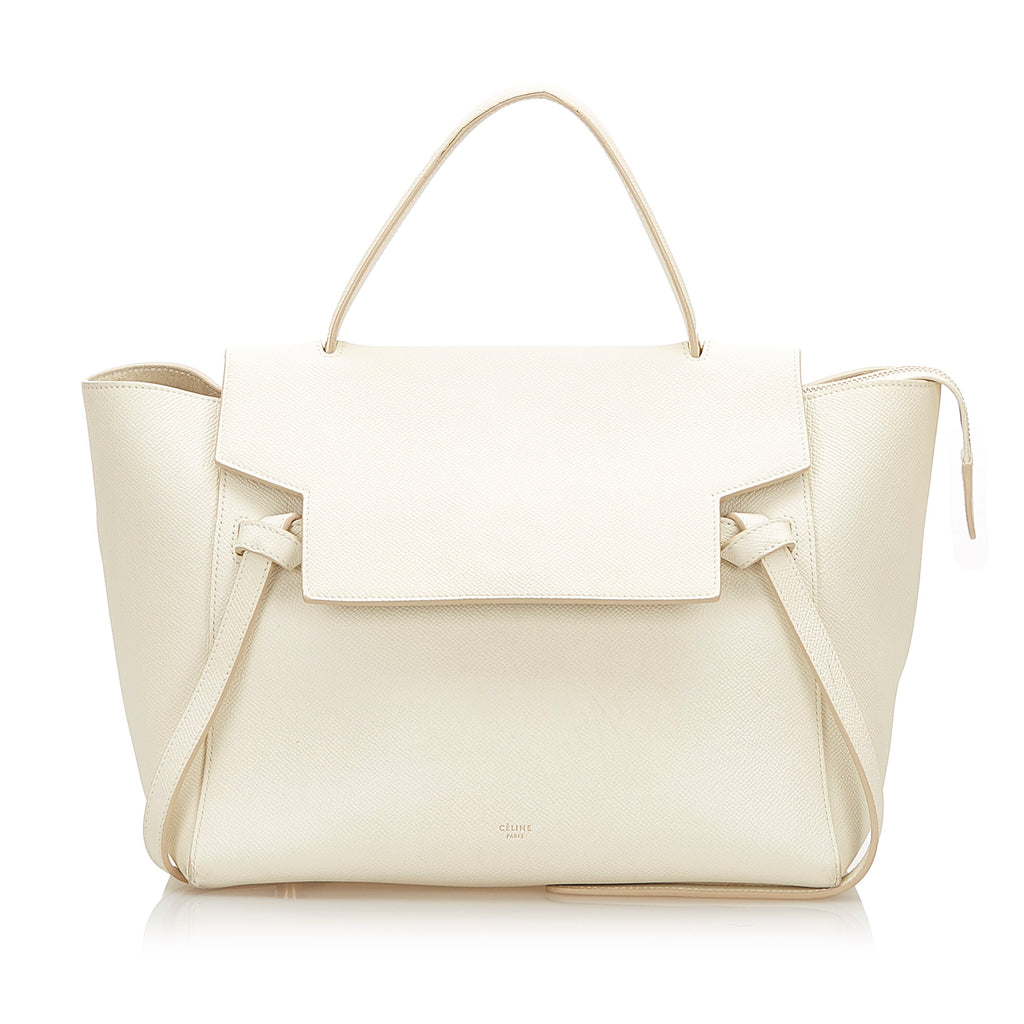 Belt Leather Handbag White - Bag Religion