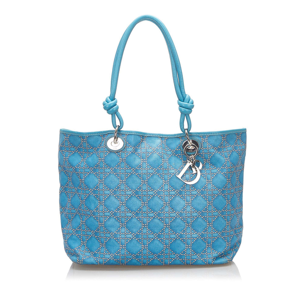 Cannage Canvas Tote Bag Blue - Bag Religion