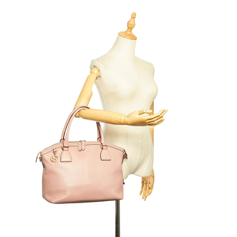 GG Charm Dome Leather Handbag Pink - Bag Religion
