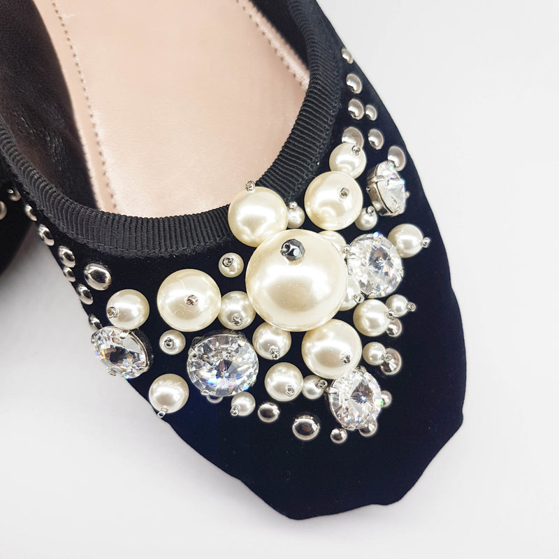 Ballet Flats with Pearl & Glitter Gems - Bag Religion