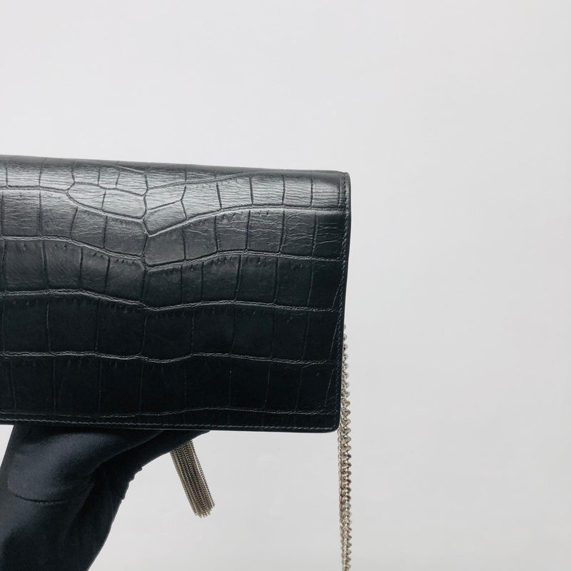 Classic Monogram Kate Tassel WOC in Black Crocodile Embossed Leather