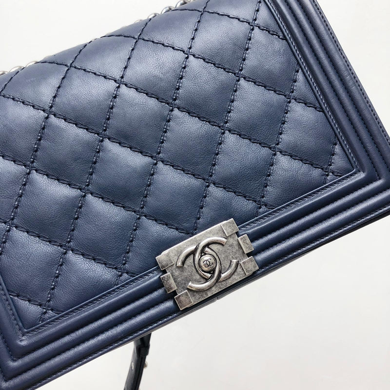 New Medium Blue Le Stitch Boy Quilted Calfskin Leather with RHW