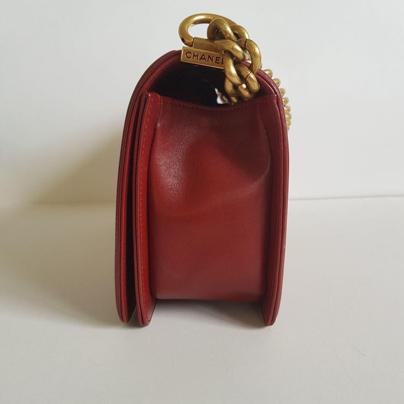 bag-religion Old Medium Burgundy Lambskin boy antique ghw