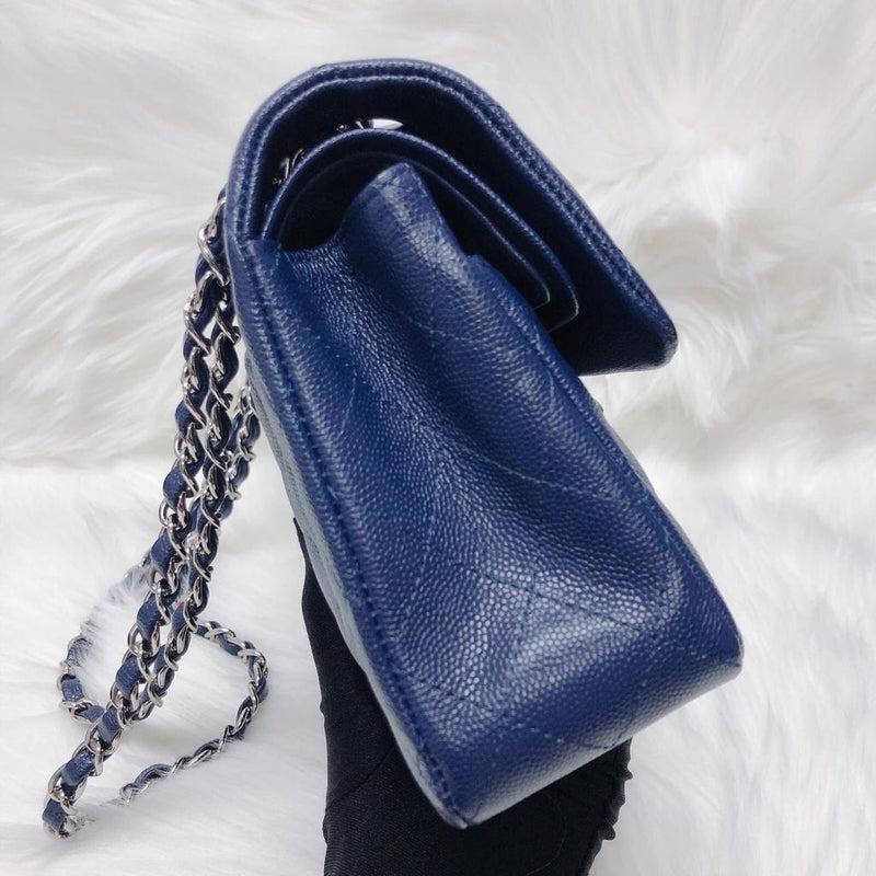 Small Double Flap Bag in Navy Blue Caviar with SHW