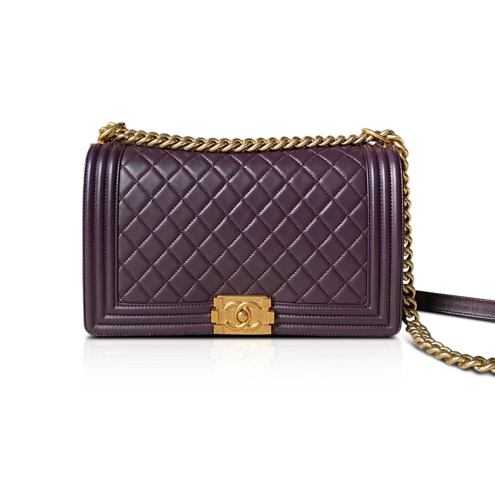 New Medium Le Boy Bag in Raisin Purple Lambskin Leather with GHW - Bag Religion