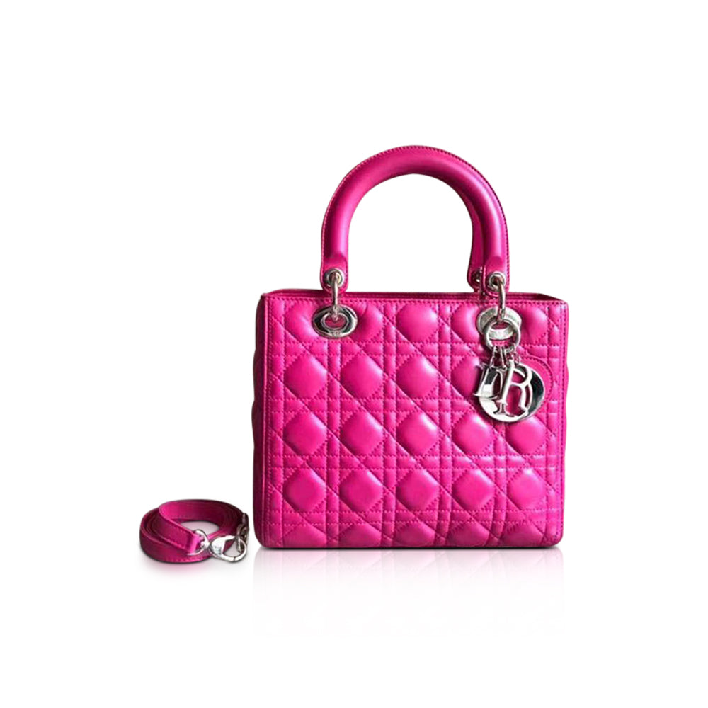 Cannage Lambskin Lady Dior Medium Bag in Magenta Pink